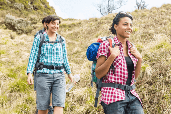women hiking with no barriers