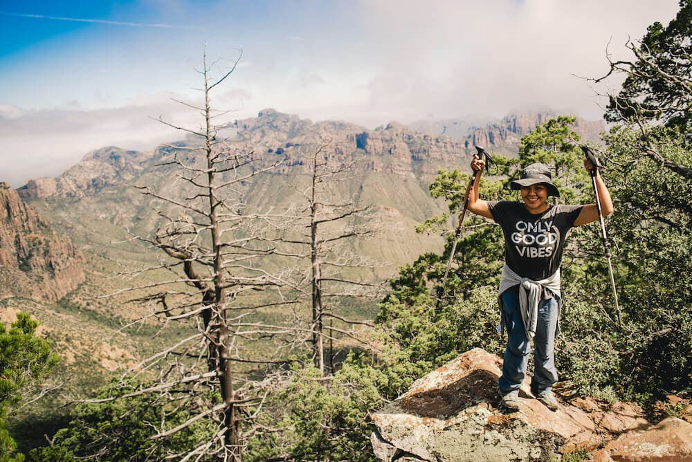no barriers reach life element and woman celebrating on mountain