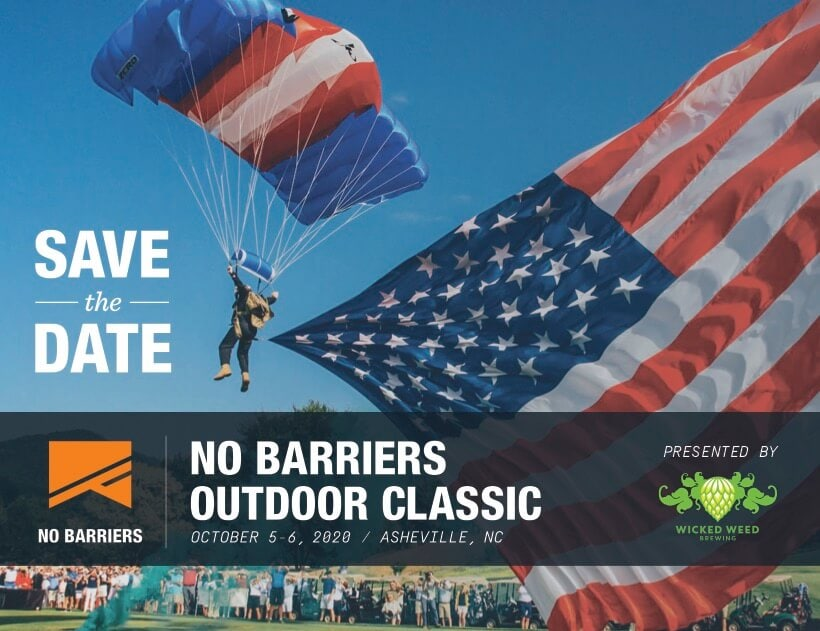 postcard to save the date for 2020 no barriers outdoor classic in asheville, north carolina