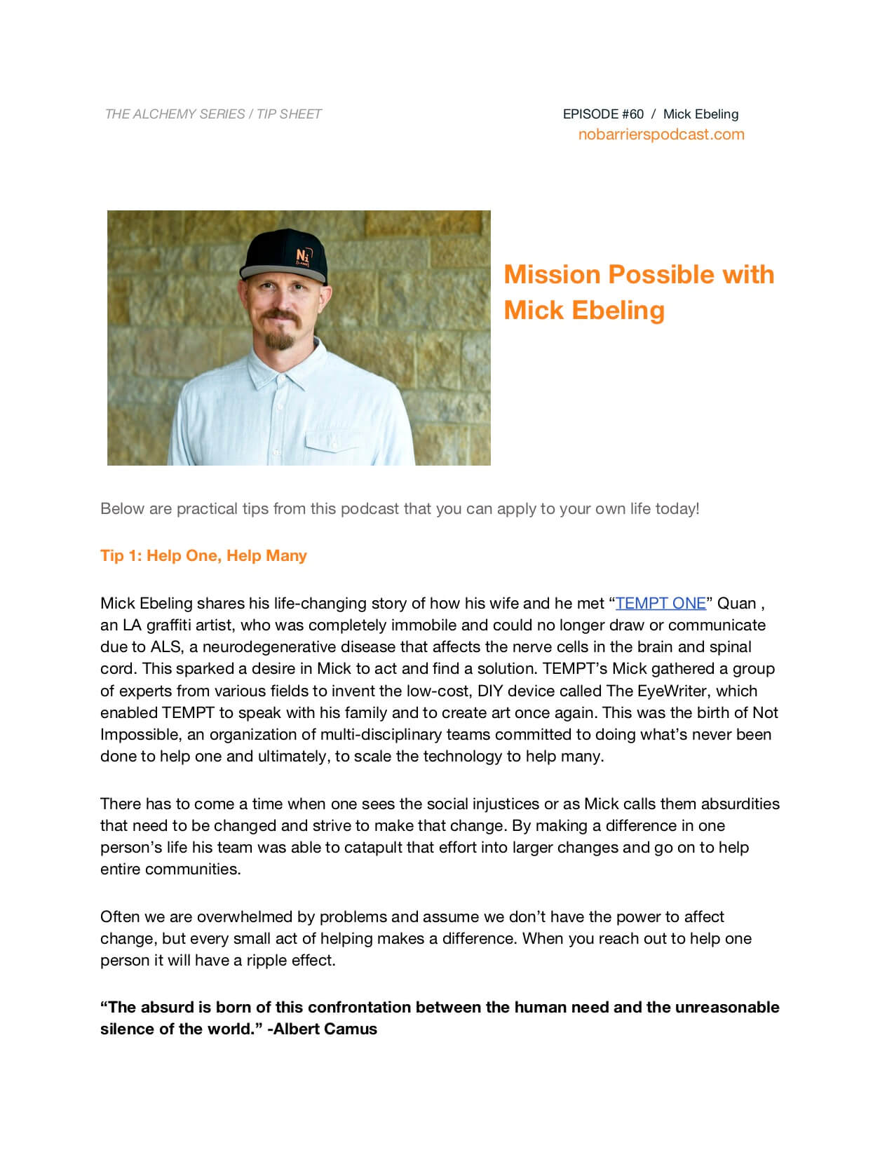 tip sheet mich ebeling, interview with no barriers