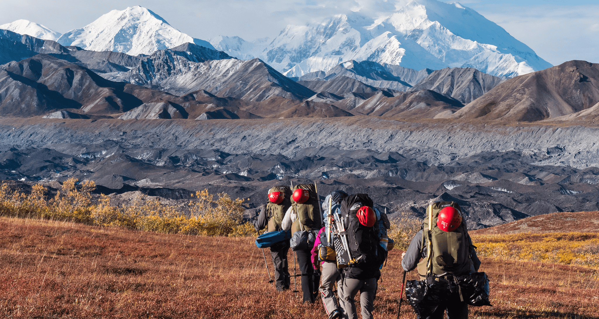 Hikers Heading off to distant mountains