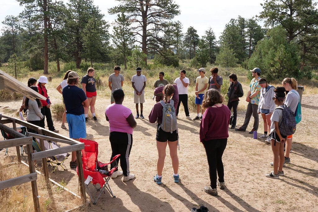 Group of kids in a circle at camp