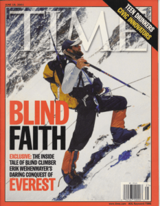 Cover of Time Magazine with Erik climbing